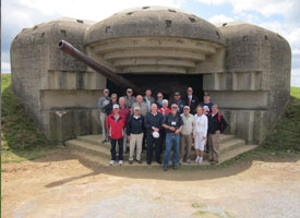 The German battery at Longues-sur- Mer during the recent D-Day Tour.