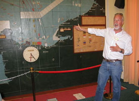 Robert Kershaw lecturing before Eisenhower's original D-Day Map at Southwick House during the Stephen Ambrose D-Day Tour