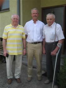 Panzer veterans Ludwig Bauer left, author and Hermann Eckhardt right during my visit to interview veterans in Germany.