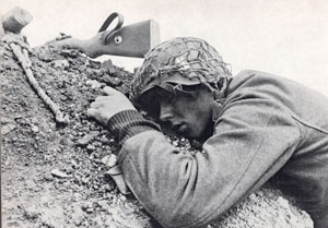 Exhausted German soldier at the end of the day
