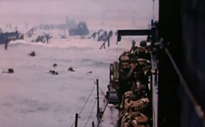 Colour movie still of the Omaha landings from the ramp of a LSL