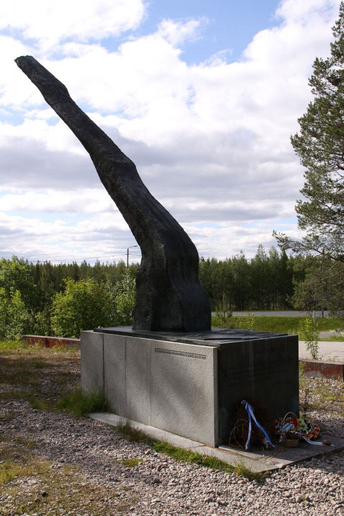 The Finnish Liekki Flame commemorative Monument, blown by Russia from the east but not extinguished.