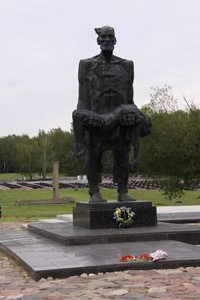 The poignant village memorial at Khatyn, where a father has discovered his limp dead child.