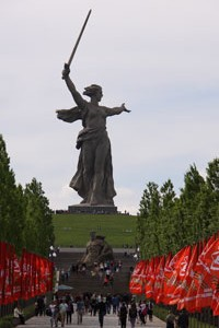 The statue of Mother Russia on the Mamayev Kurgan at Volgograd.