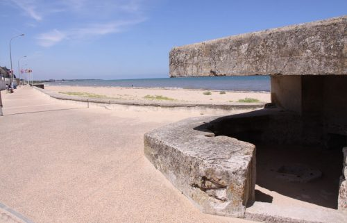 Concrete German 50 mm anti-tank gun emplacement on Juno Beach.