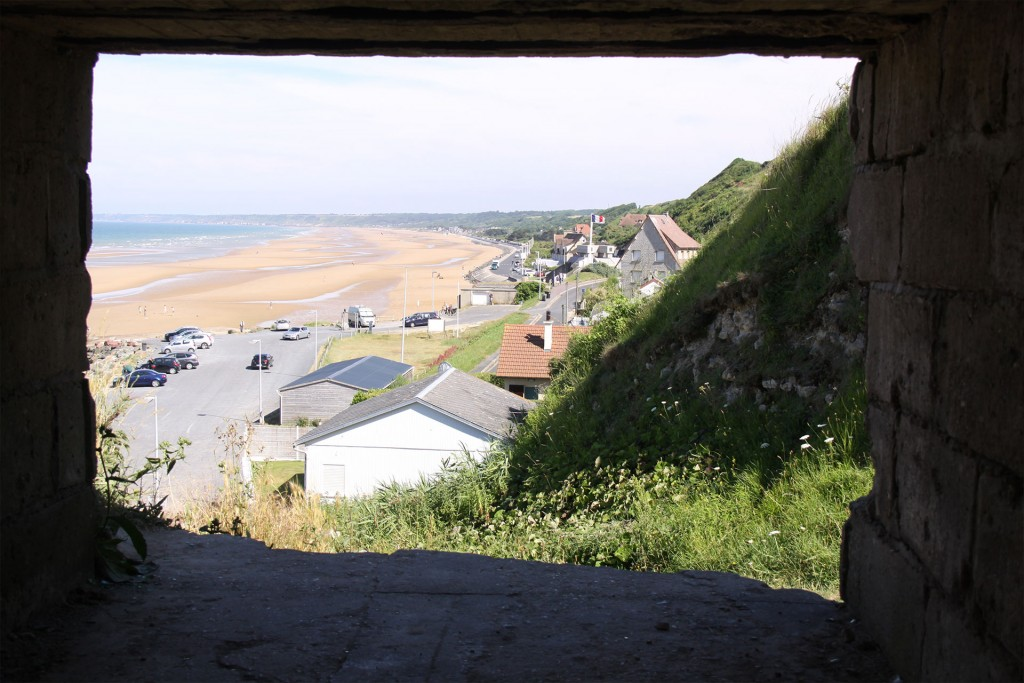 The view from German strongpoint WN 74 at Vierville looking eastwards across Omaha Beach.
